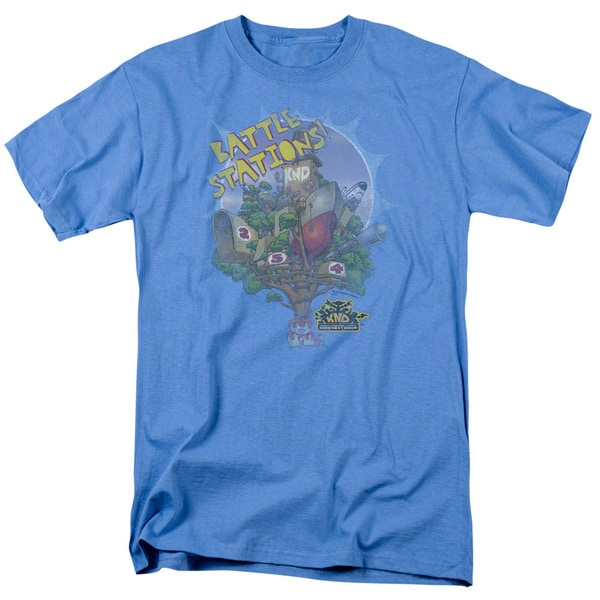 Kids Next Door/Battle Stations Short Sleeve Adult T-Shirt 18/1 in Carolina Blue