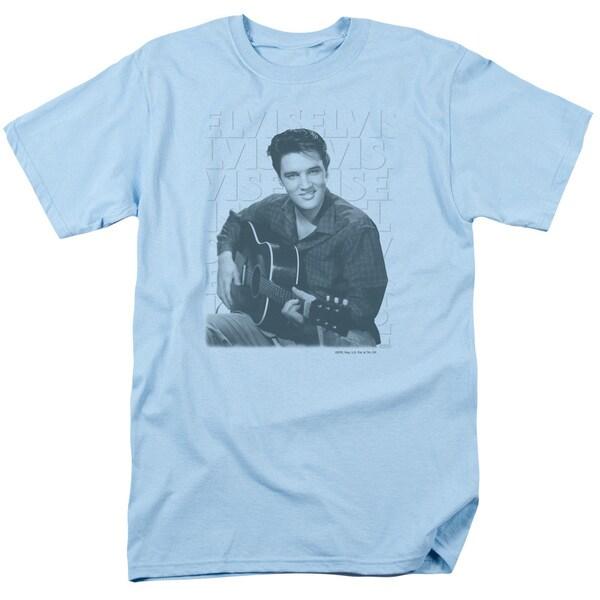 Elvis/Repeat Short Sleeve Adult T-Shirt 18/1 in Light Blue