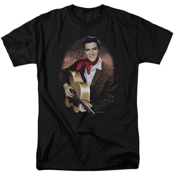 Elvis/Red Scarf #2 Short Sleeve Adult T-Shirt 18/1 in Black