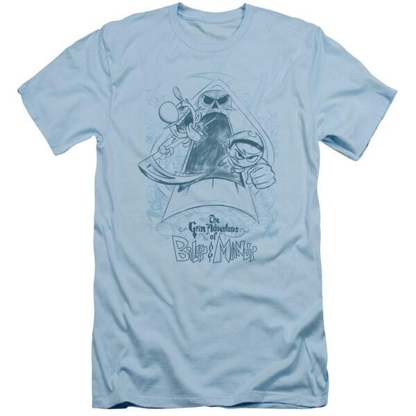 Grim Adventures Of Billy & Mandy/Sketched Short Sleeve Adult T-Shirt 30/1 in Light Blue