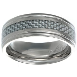Stainless Steel Men's Ring with White Carbon Fiber Inlay