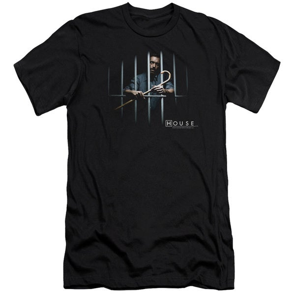 House/Behind Bars Short Sleeve Adult T-Shirt 30/1 in Black