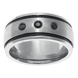 Stainless Steel Men's Ring with Black Cubic Zirconia