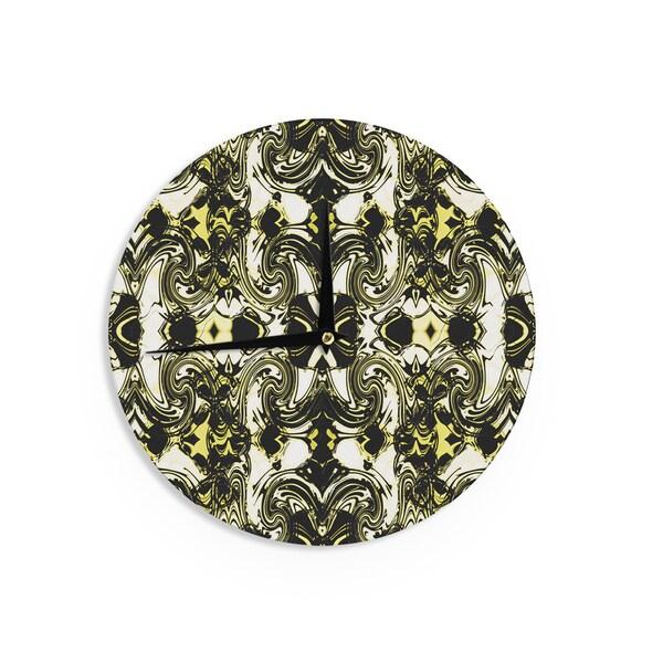 KESS InHouse Dawid Roc 'The Palace Walls II' Yellow Black Wall Clock