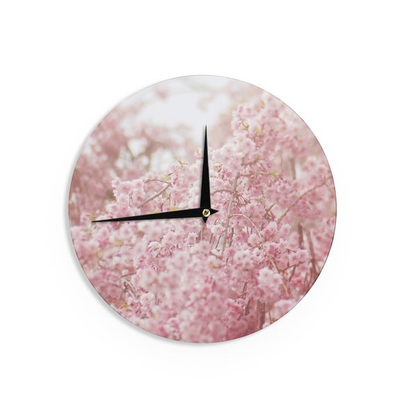 KESS InHouse Debbra Obertanec 'Spring Pinks' Floral Digital Wall Clock