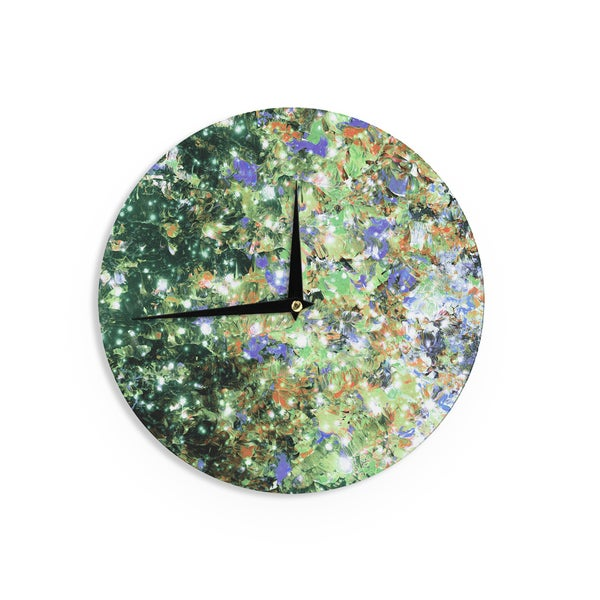 KESS InHouse Ebi Emporium 'Into To The Night Green Purple' Lime Lavender Wall Clock