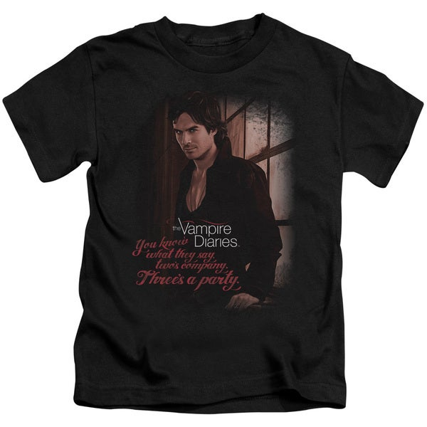 Vampire Diaries/Threes A Party Short Sleeve Juvenile Graphic T-Shirt in Black