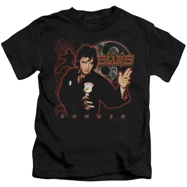 Elvis/Karate Short Sleeve Juvenile Graphic T-Shirt in Black