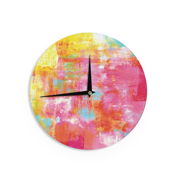 KESS InHouse Ebi Emporium 'Off The Grid III' Pink Yellow Wall Clock