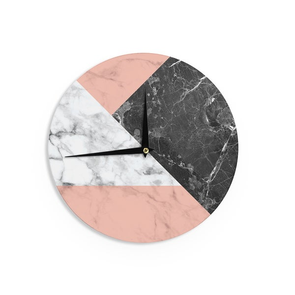 KESS InHouse KESS Original 'Geo Marble and Coral' Black Art Deco Wall Clock