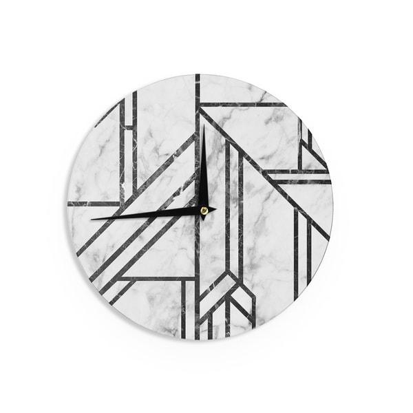 KESS InHouse KESS Original 'Black Marble Mosaic' Geometric Modern Wall Clock