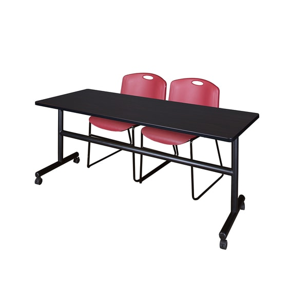 Kobe Black 72-inch Flip-top Mobile Training Table with 2 Burgundy Zeng-style Stacking Chairs
