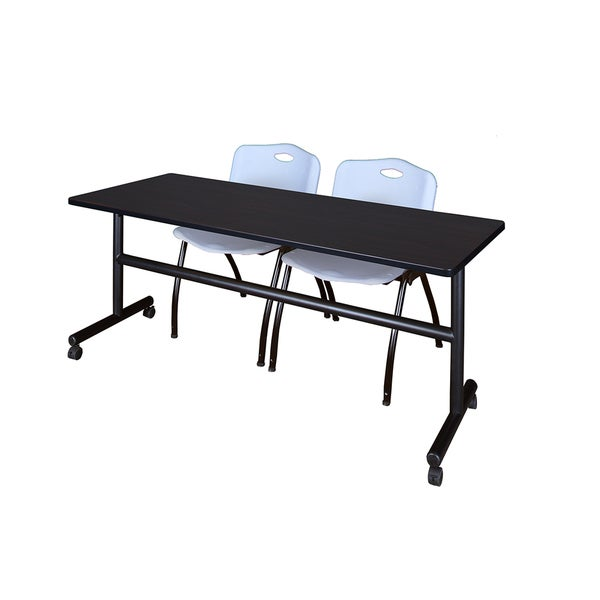 Kobe Grey/Black Wood/Laminate/Metal 72-inch Flip Top Mobile Training Table with Stackable Chairs