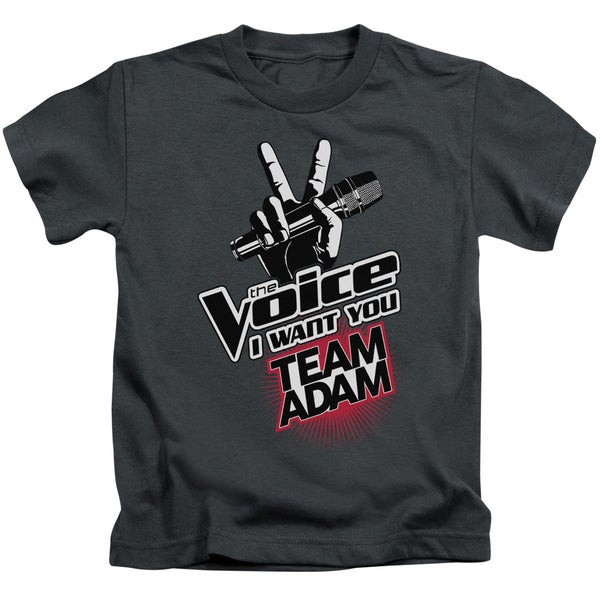 The Voice/Team Adam Short Sleeve Juvenile Graphic T-Shirt in Charcoal