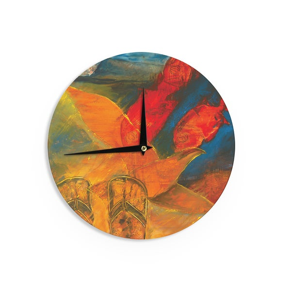 KESS InHouse Josh Serafin 'What's Beneath My Feet' Fish Seagull Wall Clock