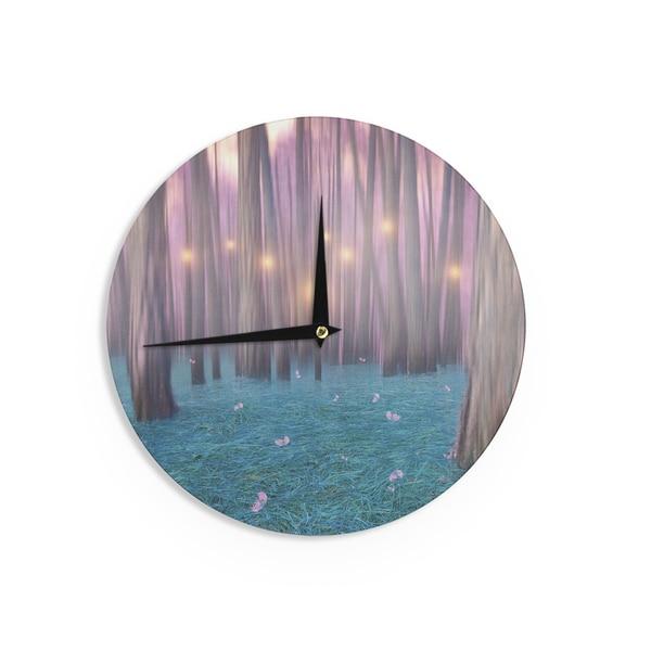 KESS InHouse Viviana Gonzalez 'Pink Feather Dance' Digital Blue Wall Clock