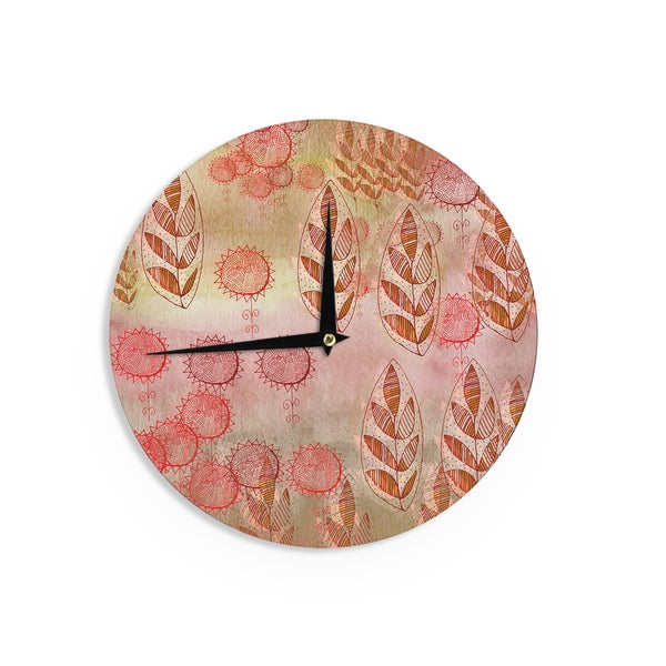 KESS InHouse Marianna Tankelevich 'Summer Music' Red Orange Wall Clock