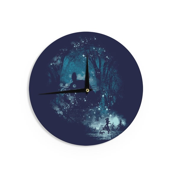 KESS InHouse Frederic Levy-Hadida 'The Big Friend' Fantasy Blue Wall Clock