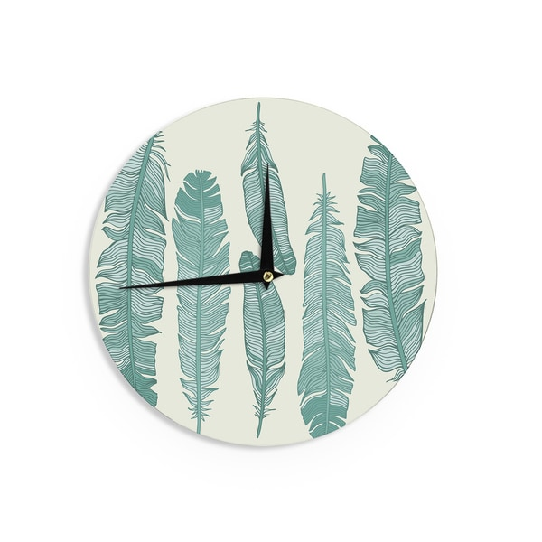 KESS InHouse KESS Original 'Balsam Feathers' Beige Green Wall Clock