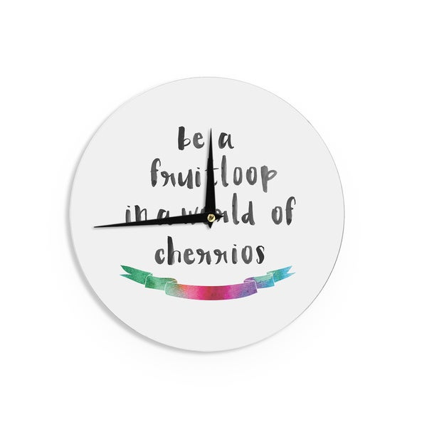 KESS InHouse KESS Original 'Be A Fruitloop' Watercolor Typography Wall Clock