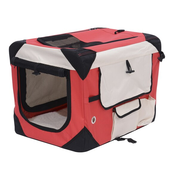 Pawhut Red/White Fabric Steel 32-inch Soft-sided Folding Crate Pet Carrier