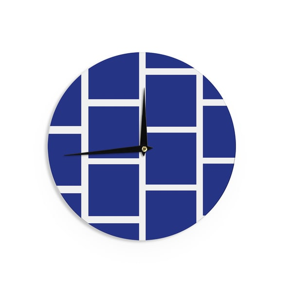 KESS InHouse NL designs 'Navy Square Blocks' White Pattern Wall Clock