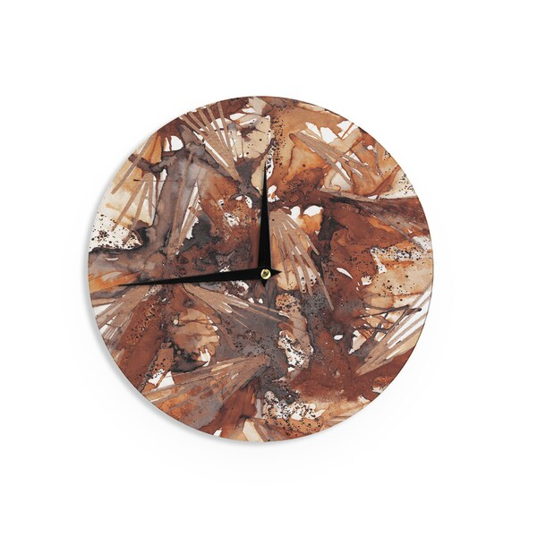 KESS InHouse Ebi Emporium 'Birds Of Prey - Rust Tan Brown' Beige Watercolor Wall Clock