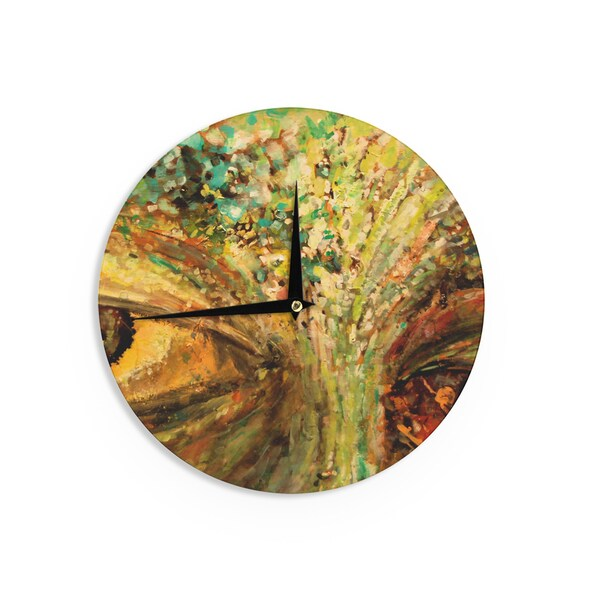 KESS InHouse Nathan Gibbs Art 'Eye Of The Storm' Green Yellow Wall Clock