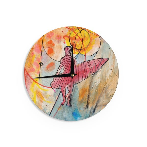 KESS InHouse Nathan Gibbs Art 'Untold Beauty' Red Yellow Wall Clock