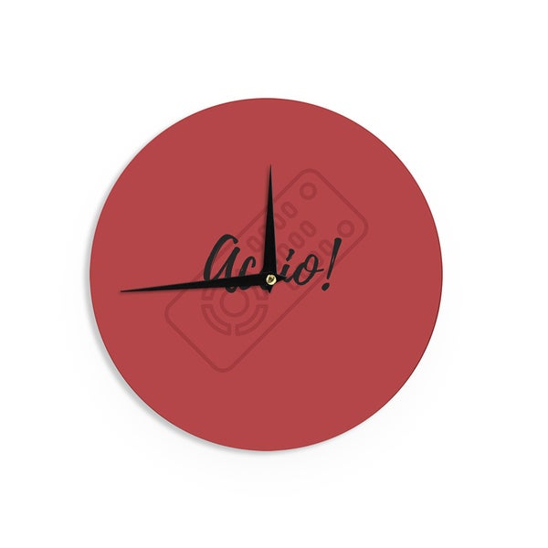 KESS InHouse Jackie Rose 'Accio! Remote' Red Illustration Wall Clock