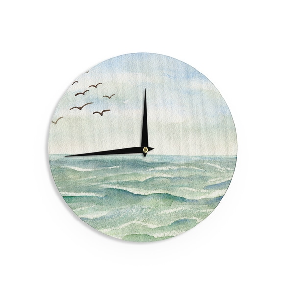 KESS InHouse Cyndi Steen 'Flock Flying Low' Blue Coastal Wall Clock
