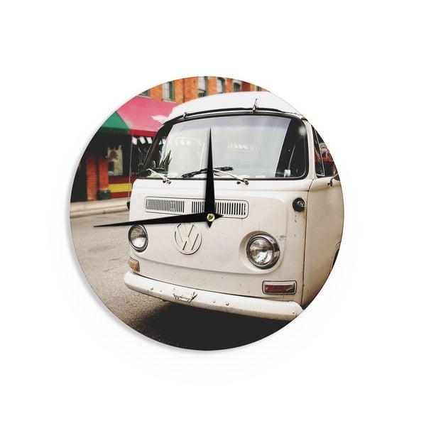 KESS InHouse Angie Turner 'VW Bus' White Vintage Wall Clock