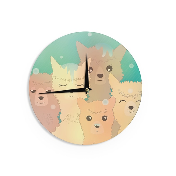 KESS InHouse Graphic Tabby 'Alpacas In Snow' Pastel Animals Wall Clock