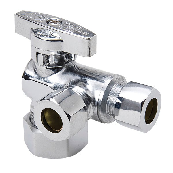B And K Industries 194-322HC 1/4 Turn Chrome Plated Brass Angled Valve