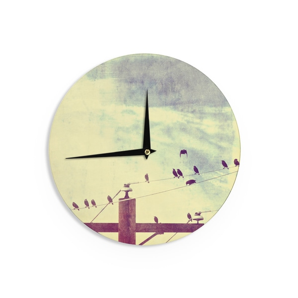 KESS InHouse Sylvia Coomes 'Vintage Birds On A Wire 1' Brown Vintage Wall Clock