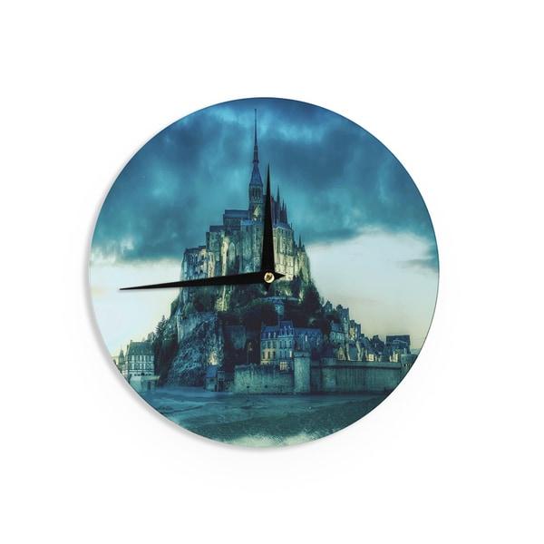 KESS InHouse 888 Design 'Haunted Castle' Blue Fantasy Wall Clock