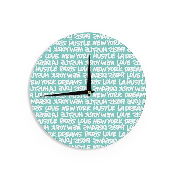 KESS InHouse Just L 'Lux Writing Wht Teal' White Typography Wall Clock