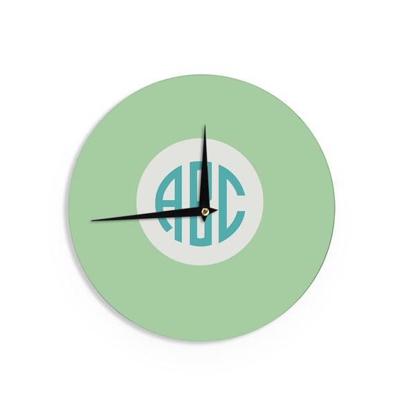 KESS InHouse KESS Original 'Classic Green Circle Monogram' Teal Illustration Wall Clock
