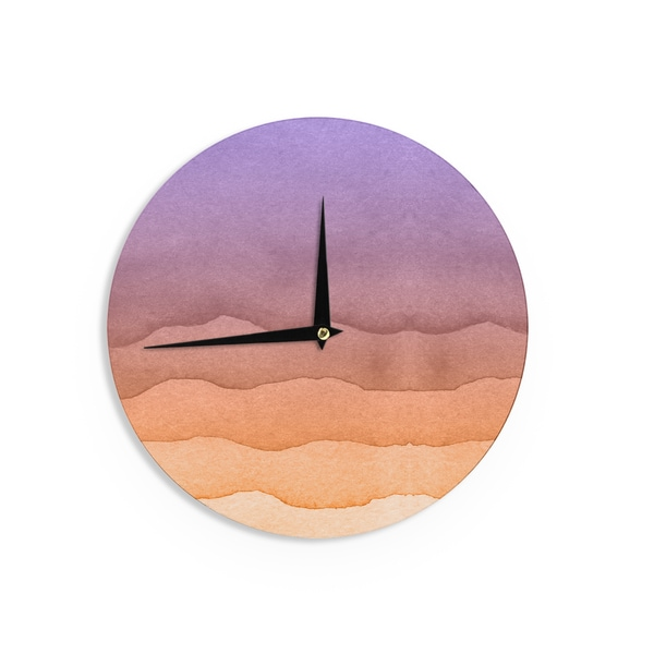 KESS InHouse KESS Original 'Ombre Sunrise' Orange Watercolor Wall Clock