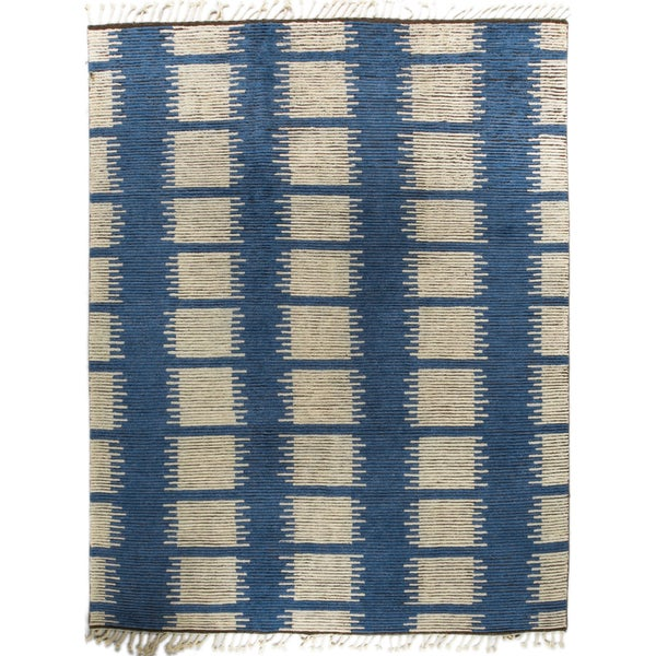 Jasmin Blue/Grey Wool Hand-knotted Moroccan Rug (10'0 x 14'0)
