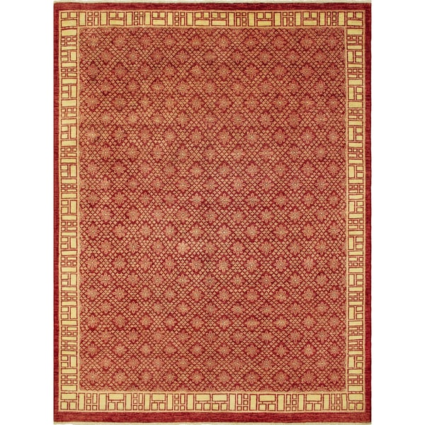 Parvana Red Wool Peshawar Rug (8'11 x 12'1) - 8'11 x 12'1 20535178