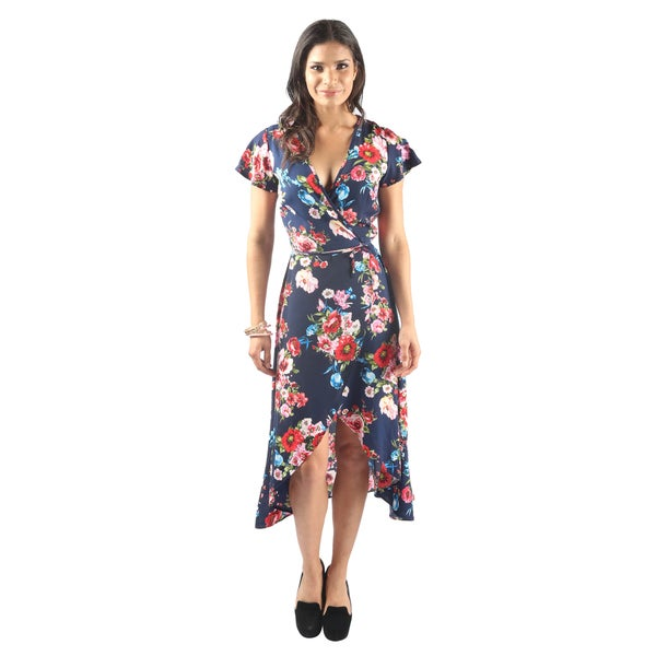 Hadari Women's Cap Sleeve Plunging V-Neck Floral Asymmetrical Warp Dress