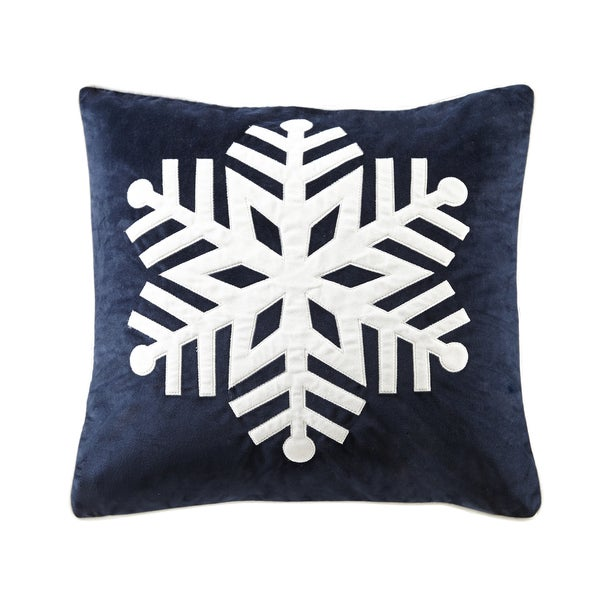 Madison Park Velvet Snowflake Navy Square Throw Pillow