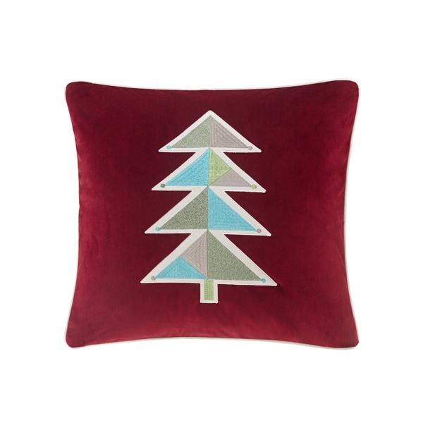 Madison Park Holiday Novelty Geo Tree Red Square Throw Pillow