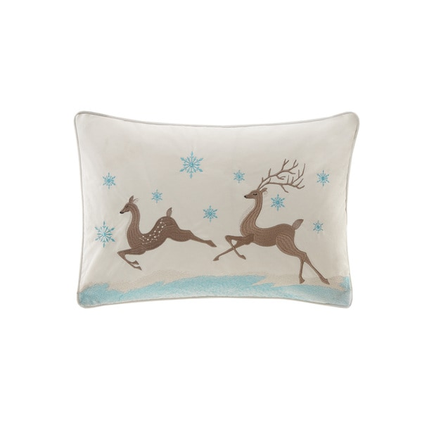 Madison Park Winter Prancers White Oblong Throw Pillow