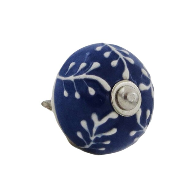 Blue with Raised White Design Drawer Pulls Pack of 6 20536064