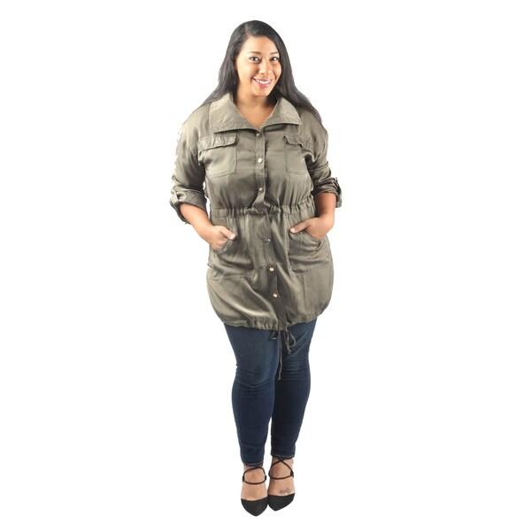 Hadari Women's Plus Size Long Sleeve Collared Button Down Midi Jacket