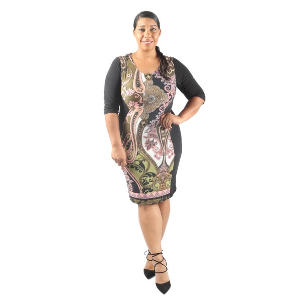 Hadari Women's Plus Size Short Sleeve Scoop Neck Bodycon Midi Semi Formal Dress