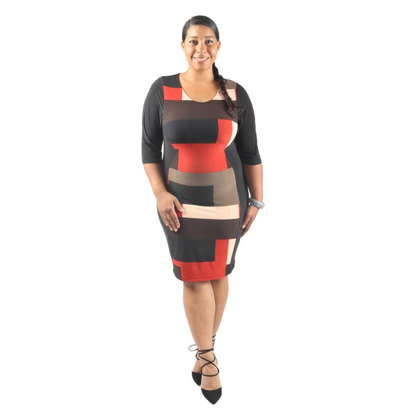 Hadari Women's Plus Size Short Sleeve Scoop Neck Bodycon Midi Business Dress
