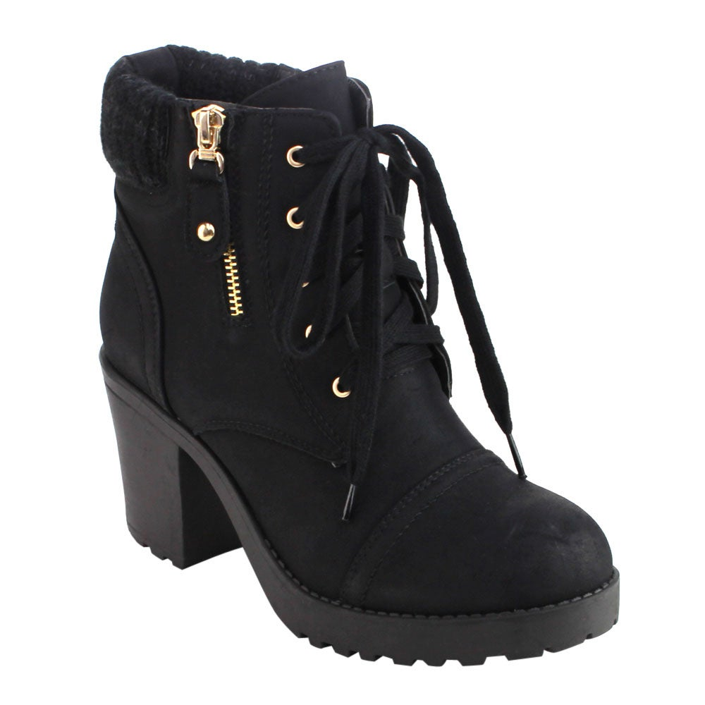 DBDK AD32 Women's Lace-up Side Zipper Lug Sole Chunky Heel Ankle Booties